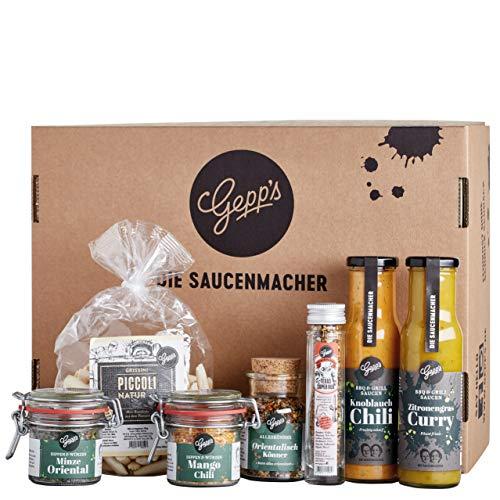 Gepp's Feinkost Basic Paket Grillen & Würzen I edles Geschenk für Männer & Frauen mit besten Zutaten I Grillzubehör aus leckeren Saucen und edlen Gewürzen (100427)