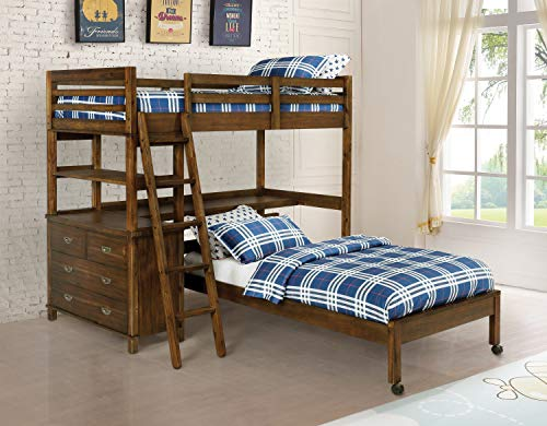 Coaster Furniture Bernhardt Twin Over Twin 4-Drawer Workstation Loft Bed 460575 Golden Brown Constructed with Solid Acacia, Plywood, MDF, and Acacia Veneer