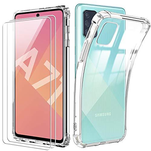 Reshias Funda para Samsung A71 con Dos Cristal Templado Protector de Pantalla,Suave TPU Transparente Gel Silicona Anti-caída Anti-arañazos Protectora Carcasa para Samsung Galaxy A71 4G (6.7 Pulgadas)