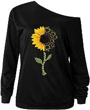 Aniywn Women's Autumn Slash Neck Long Sleeve Pullover Tops Loose Women Floral Print Tunic Blouse