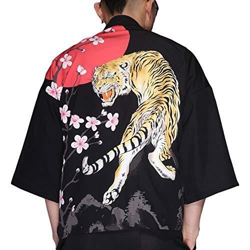 G-like Herren Sommer Kimono Cardigan – Traditionelle Japanische Kleidung Haori Kostüm Taoistische Robe Langarm Jacke Chinesischer Stil Umhang Nachthemd Bademantel Nachtwäsche für Männer (Tiger)