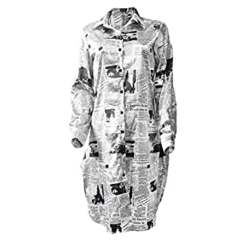 DOHAOOE Newspaper Print Shirt Dress - Long Button Down Oversized Sleeve Blouse Clothing  Black 14 Tag Size XL