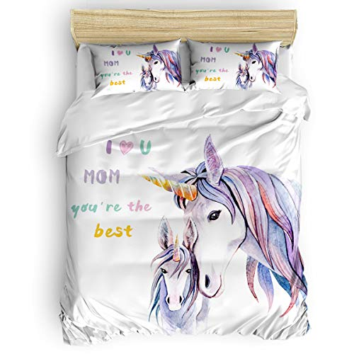 Litter Star 4-Pieces Duvet Cover Bet Set Unicorn Mom and Child California King Ultra Soft Bed Quilted Coverlet Bedding Sheet with 2 Pillowcases, I Love Mom You are The Best