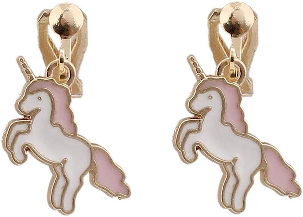 HAPPYAN Fashion Cute Unicorn Shape Clip on Earrings Charm Jewelry Accessory