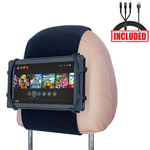 Car Headrest Mount Silicon Holder for Nintendo Switch Console, iPad Mini, Kindle Paperwhite with 3-in-1 Charging Cable (Black)