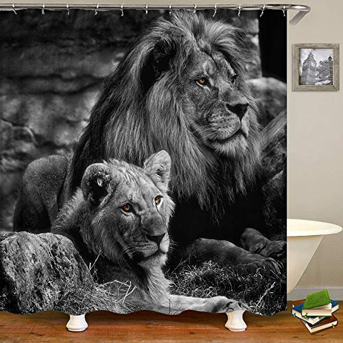 Shocur Löwe Duschvorhang männliche & weibliche Löwen in tropischen Wäldern, 183,9 x 183,9 cm Wildlife Thema Badvorhang, Polyestergewebe Badezimmer Dekor Set mit 12 Haken