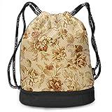 OKIJH Mochila Mochila de ocio Mochila con cordón Mochila multifuncional Bolsa de gimnasio GymSack Drawstring Bag Sackpack Simple Vintage Flower Sport Cinch Pack Simple Bundle Pocke Backpack For Men Wo