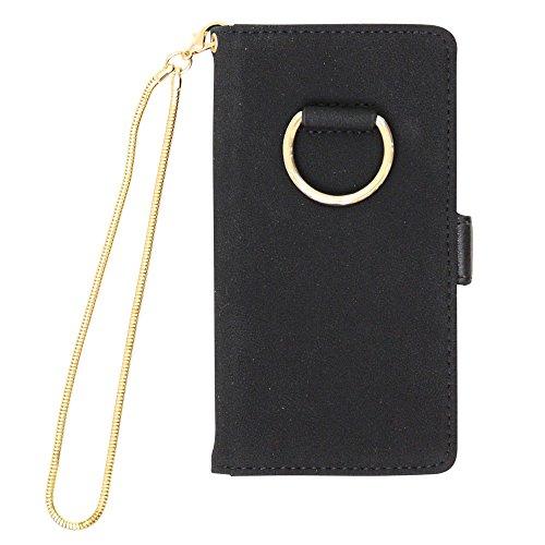 iphoneケース iphone8 手帳型 スマホケース スエード調 リング 横開き iphone6 iphone7 iPhone6s 大人 ミラー付き チェーンチャーム【ブラック】