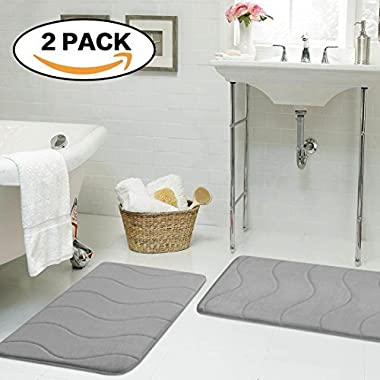 Flamingo P Microfiber Memory Foam Fieldcrest Luxury Bath Rugs, 17-Inch by 24-Inch, Gray, Waved Pattern, Two Pieces