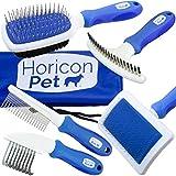 Horicon Pet 6 In 1 Premium Dog Brush Set - Dog Grooming Brushes - Ball Pin & Bristle Brush, Curved Blade Dematting Comb, Slicker Brush, Deshedding Edge Comb, Detangling Pet Comb