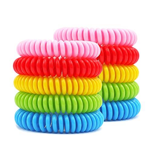 Braccialetti Antizanzare Repellenti Freaky Jo Shop 10 pcs, Colorati e Profumati, Bracciale per sport e attività all'aria aperta, Regolabile per adulti e bambini