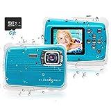 PROACC Cámara Impermeable para niños, Digital Mini Cámara FHD1080P con Zoom Digital de 8X / 21MP / 2' TFT LCD/32 GB Micro SD, cámara Infantil Impermeable 3m
