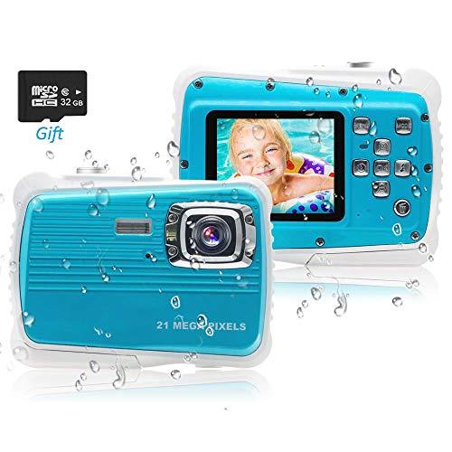 PROACC wasserdichte Kamera für Kinder (bis 3 Meter), Unterwasser Kinderkamera Camcorder FHD1080p 21MP Digital Sportkamera mit 32 GB Speicherkarte, 2.0 '' LCD-Bildschirm, 8X Digital Zoom, Flash Mic