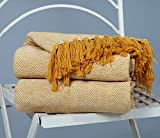 Zweifarbiger Fischgräten-Sofasessel aus natürlicher Baumwolle Tagesdecke Sofa Einzelwurf - 150 x 200 cm, doppelte Größe