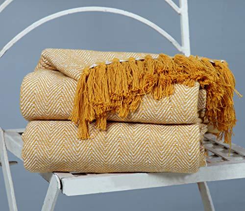 Zweifarbiger Sofa-Sessel mit Fischgrätenmuster aus natürlicher Baumwolle Tagesdecke Sofaüberwurf - 220 x 250 cm, Riesengröße