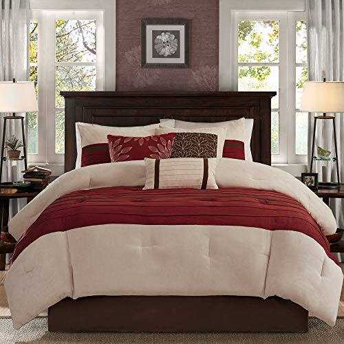 Madison Park - Palmer 7 Piece Comforter Set -Red - King - Pieced Microsuede - Includes 1 Comforter, 3 Decorative Pillows, 1 Bed Skirt, 2 Shams