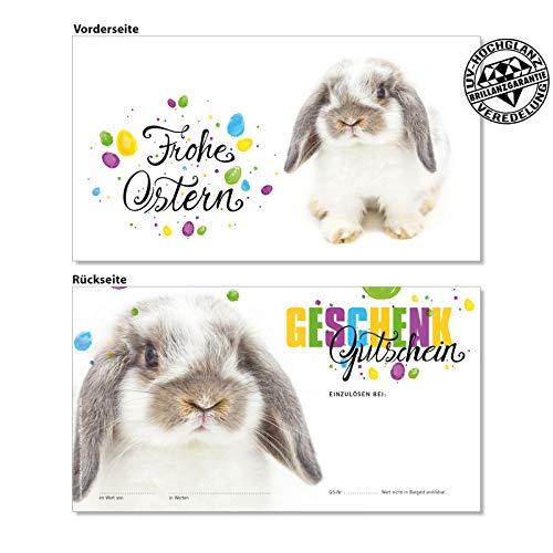 25 hochwertige Gutscheinkarten Geschenkgutscheine. Gutscheine für Ostern Osterfest Wäsche Dessous Wäschemode. Vorderseite hochglänzend. U1232