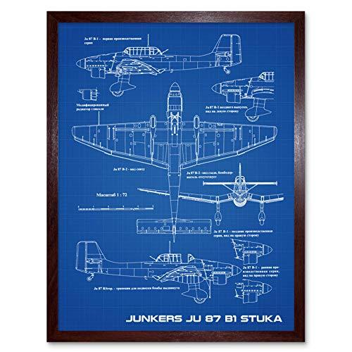 Junkers Ju 87 B1 Stuka Vliegtuig Blauwdruk Plan Muur Art Print Omlijst 12x16