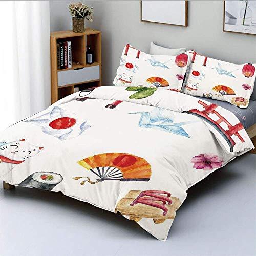 Juego de funda nórdica, elementos tradicionales dibujados a mano, acuarelas, puerta Torii, bandera de pájaro de origami, gato Lacky, juego de cama decorativo de 3 piezas con 2 fundas de almohada, mult