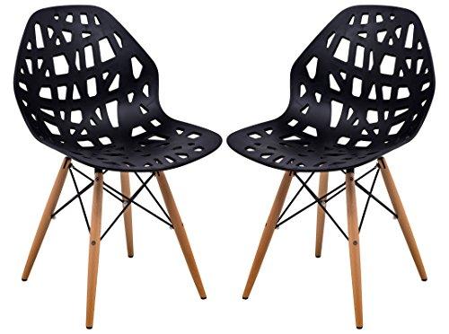 LeisureMod Calvert Modern Eiffel Base Side Dining Chair with Wood Dowel Legs Set of 2 (Black)