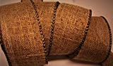 Natural Brown Wired Edge Burlap Ribbon - 100% Polyester 7 Yards, 1.5 Inch Wide - Use for Wreath Bows, Fall and Holiday Decorating!