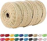 Lorryhaus Cuerda de macramé multicolor para manualidades,hilo natural de algodón de 3mm,cuerda para colgar en la pared,perchas,manualidades,atrapasueños,200m-café