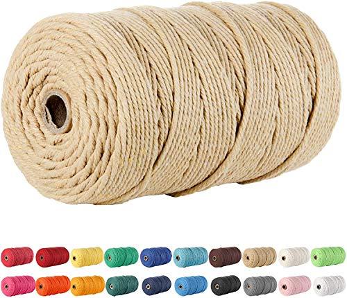 Lorryhaus Cuerda de macramé multicolor para manualidades,hilo natural de algodón de 4mm,cuerda para colgar en la pared,perchas,manualidades,atrapasueños,100m-café