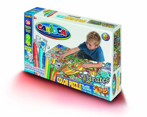 Carioca - Puzzle para colorear (35 piezas, tamaño grande, 100 x 70 cm, doble cara, incluye 36 rotuladores), diseño de piratas
