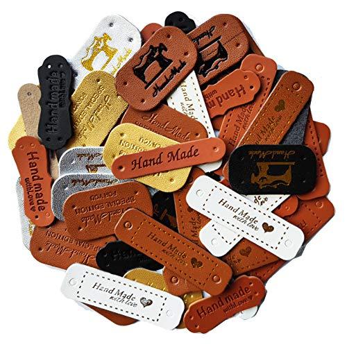 48 etiquetas hechas a mano de piel sintética para coser, personalizables, hechas a mano, con agujeros, para vaqueros, bolsos, zapatos, sombreros (12 tipos, marrón)