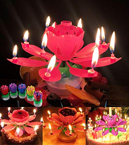Rotating Lotus Birthday Cake Candles, Double Music Magic Rotating Candles, Birthday Cake Decoration Candles 5PCS