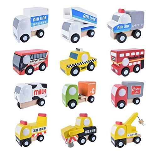 12 unids / set Mini juguete de madera para bebé, juguetes de tráfico de madera, encantador avión, juego de juguetes de madera, juguetes educativos para vehículos de dibujos animados (Coche B)