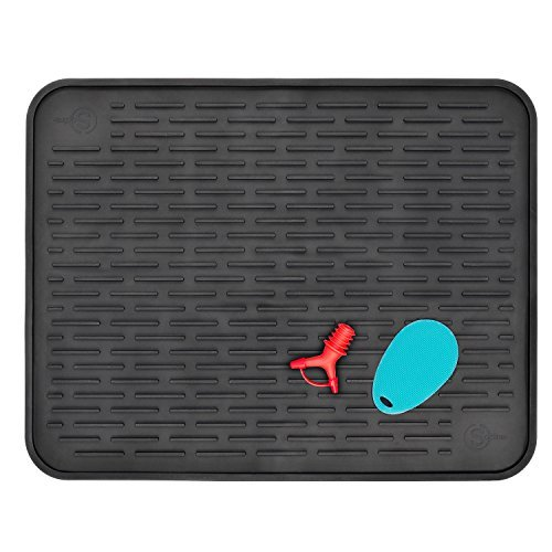 """Silicone Dish Drying Mat for Kitchen Countertop XXL 23"""" x 18"""" Heat Resistant Trivet Antibacterial Dishwasher Safe With Two Bonus Items"""