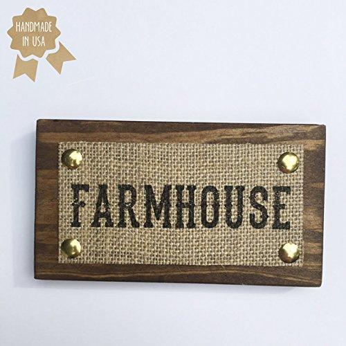 "MINI 6""x3.5"" Farmhouse/Burlap Print on Wood Plaque/HANDMADE Rustic Home Wall Decor Gift Farm Lover"
