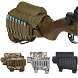 SUPTOP Tactical Rifle Cheek Rest Holder Rifle Buttstock Adjustable Tactical Cheek Rest Pad Ammo Pouch with 7 Grid Shells Holder for Hunting Shooting Shotgun Accessories