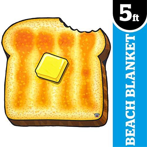 BigMouth Inc Giant Slice of Toast with Butter Beach Blanket, Oversized Beach Towel, Ulta-Soft Microfiber Towel, 5 Feet Wide, Washing Machine Friendly