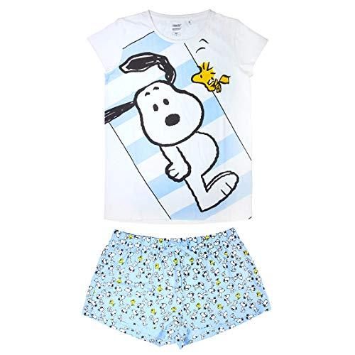 ARTESANÍA CERDÁ Peanuts Snoopy & Woodstock Sommer-Pyjama, kurz, 2 Stück, 100 % weiche Baumwolle, Weiß/Hellblau, S-M-L-XL, Weiß S