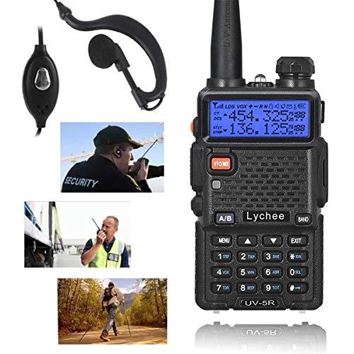 Lychee UV-5R Walkie Talkie FM Radio Profesional Doble Banda VHF&UHF Transceptor para Trabajo/Senderismo/Camping/Viajes (Negro)