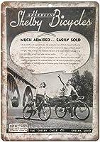 シェルビー自転車ヴィンテージティンサイン装飾ヴィンテージ壁金属プラークカフェバー映画ギフト結婚式誕生日警告のためのレトロな鉄の絵