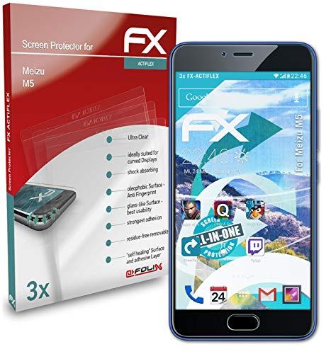 atFolix Schutzfolie kompatibel mit Meizu M5 Folie, ultraklare & Flexible FX Bildschirmschutzfolie (3X)