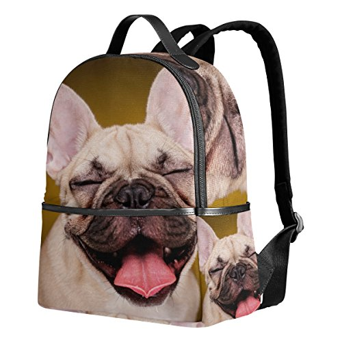 Use4 Cute French Bulldog Puppy Dog Polyester Backpack School Travel Bag