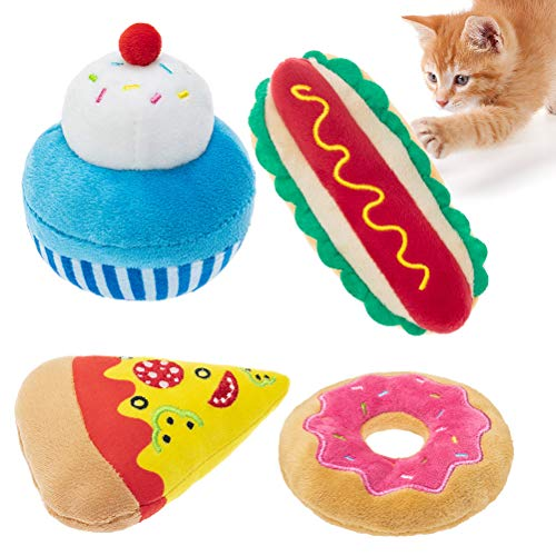 PAWCHIE Refillable Catnip Toys Set for Indoor Cats- 4 Pack Interactive Cat Kicker Toys with Funny Food Shape Pizza Donut Cake Hot Dog