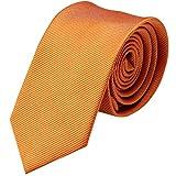 GASSANI Krawatte 6cm Schmal gestreift   Pastell-Orange Rips Herrenkrawatte zum Sakko   Slim Schlips Binder einfarbig mit feinen Streifen