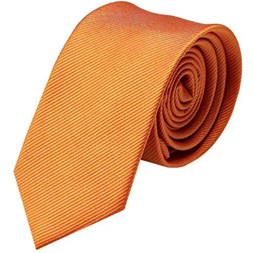GASSANI Krawatte 8cm Breite gestreift | Pastell-Orange Rips Herrenkrawatte zum Sakko | Schlips Binder einfarbig mit feinen Streifen