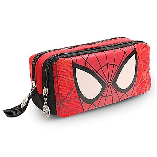 Hilloly Astuccio Scuola Completo Spiderman Marvel Uomo Ragno, Astuccio per Matite Ragazzi e ragazze per Retro Astuccio con Chiusura a Cerniera per Penna per Studenti