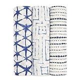 aden + anais Silky Soft Swaddle Blanket | 100% Bamboo Viscose Muslin Blankets for Girls & Boys | Baby Receiving Swaddles | Ideal Newborn & Infant Swaddling Set | 3 Pack, Indigo Shibori