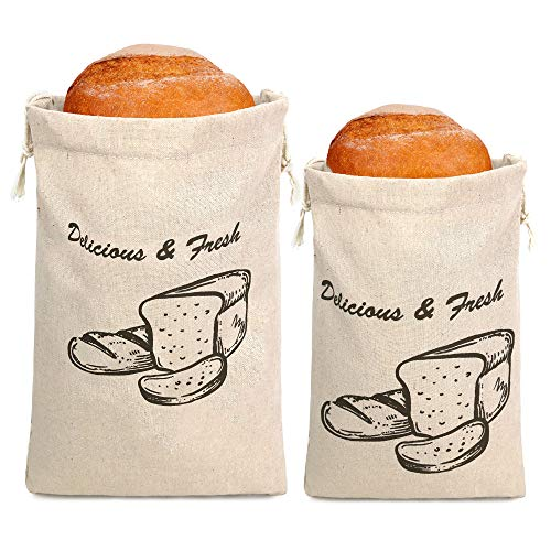 Linen Bread Bags Unbleached Drawstring Closure Reusable Food Storages or Homemade Bread Storages Reusable Bread Bags for Artisan Bread Bakery 2 Pack(1 Small Size +1 Large Size)