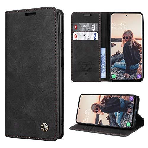 RuiPower Handyhülle für Samsung Galaxy A51 Hülle Premium Leder PU Flip Hülle Magnetisch Klapphülle Wallet Lederhülle Silikon Bumper Schutzhülle für Samsung Galaxy A51 4G Hülle - Schwarz