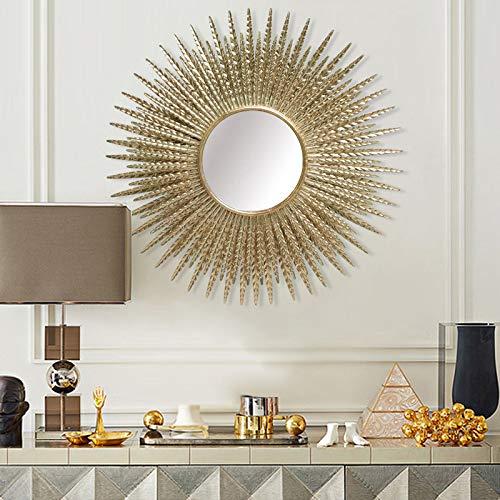 zenggp Bonito Espejo De Pared De Metal Dorado Grande con Rayos De Sol Decoración Decorativa Boho Chic para El Hogar