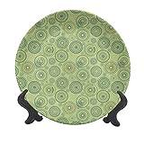 Piatto decorativo geometrico da appendere, in ceramica, con cerchi e puntini, motivo astratto, con tavolozza di colori pastello, piatto decorativo in ceramica, ornamento per casa e ufficio
