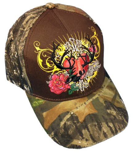 BT Outdoors Womens Mossy Oak Camo Hunting Cap Deer Skull with Plus